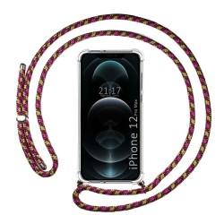 Funda Colgante Transparente para Iphone 12 Pro Max (6.7) con Cordon Rosa / Dorado