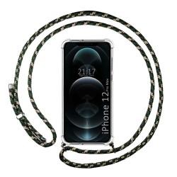 Funda Colgante Transparente para Iphone 12 Pro Max (6.7) con Cordon Verde / Dorado