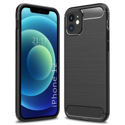 Funda Gel Tpu Tipo Carbon Negra para Iphone 12 / 12 Pro (6.1)