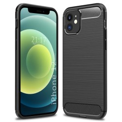 Funda Gel Tpu Tipo Carbon Negra para Iphone 12 Mini (5.4)