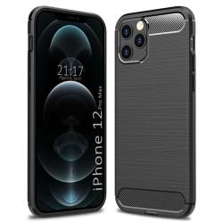 Funda Gel Tpu Tipo Carbon Negra para Iphone 12 Pro Max (6.7)