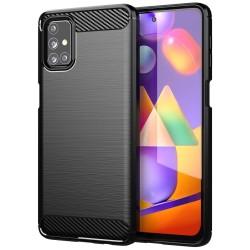 Funda Gel Tpu Tipo Carbon Negra para Samsung Galaxy M51