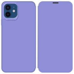 Funda Silicona Líquida con Tapa para Iphone 12 / 12 Pro (6.1) color Morado Pastel