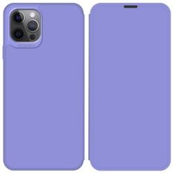 Funda Silicona Líquida con Tapa para Iphone 12 Pro Max (6.7) color Morado Pastel