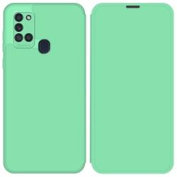 Funda Silicona Líquida con Tapa para Samsung Galaxy A21s color Verde Pastel