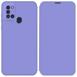 Funda Silicona Líquida con Tapa para Samsung Galaxy A21s color Morado Pastel