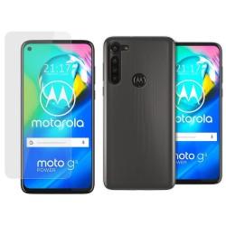 Pack 2 En 1 Funda Gel Transparente + Protector Cristal Templado para Motorola Moto G8 Power