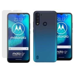 Pack 2 En 1 Funda Gel Transparente + Protector Cristal Templado para Motorola Moto G8 Power Lite