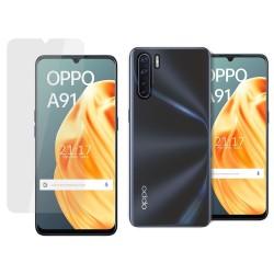 Pack 2 En 1 Funda Gel Transparente + Protector Cristal Templado para Oppo A91