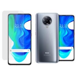 Pack 2 En 1 Funda Gel Transparente + Protector Cristal Templado para Xiaomi POCO F2 Pro