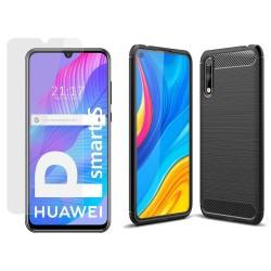 Pack 2 En 1 Funda Gel Tipo Carbono + Protector Cristal Templado para Huawei P Smart S / Y8p