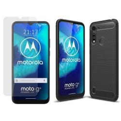 Pack 2 En 1 Funda Gel Tipo Carbono + Protector Cristal Templado para Motorola Moto G8 Power Lite