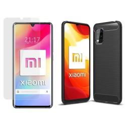 Pack 2 En 1 Funda Gel Tipo Carbono + Protector Cristal Templado para Xiaomi Mi 10 Lite