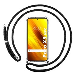 Funda Colgante Transparente para Xiaomi POCO X3 NFC / X3 PRO con Cordon Negro