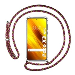 Funda Colgante Transparente para Xiaomi POCO X3 NFC / X3 PRO con Cordon Rosa / Dorado