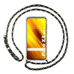 Funda Colgante Transparente para Xiaomi POCO X3 NFC / X3 PRO con Cordon Verde / Dorado