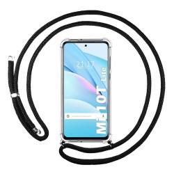 Funda Colgante Transparente para Xiaomi Mi 10T Lite con Cordon Negro