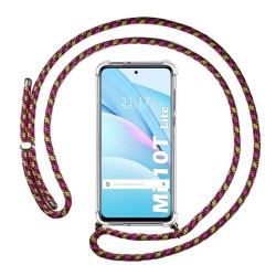 Funda Colgante Transparente para Xiaomi Mi 10T Lite con Cordon Rosa / Dorado