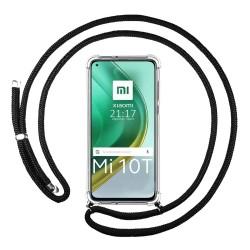 Funda Colgante Transparente para Xiaomi Mi 10T / MI 10T Pro con Cordon Negro