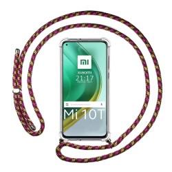Funda Colgante Transparente para Xiaomi Mi 10T / MI 10T Pro con Cordon Rosa / Dorado