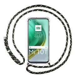Funda Colgante Transparente para Xiaomi Mi 10T / MI 10T Pro con Cordon Verde / Dorado