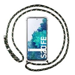 Funda Colgante Transparente para Samsung Galaxy S20 FE con Cordon Verde / Dorado