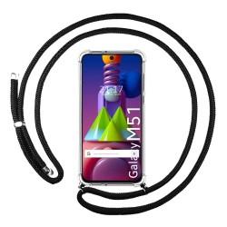 Funda Colgante Transparente para Samsung Galaxy M51 con Cordon Negro