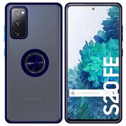 Funda Mate con Borde Azul y Anillo Giratorio 360 para Samsung Galaxy S20 FE