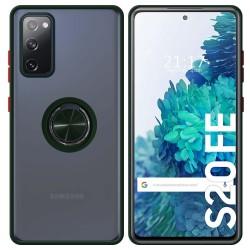 Funda Mate con Borde Verde y Anillo Giratorio 360 para Samsung Galaxy S20 FE