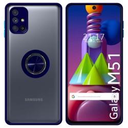 Funda Mate con Borde Azul y Anillo Giratorio 360 para Samsung Galaxy M51