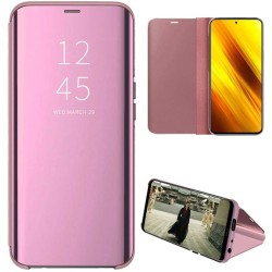 Funda Flip Cover Clear View para Xiaomi POCO X3 NFC / X3 PRO color Rosa
