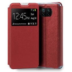 Funda Libro Soporte con Ventana para Xiaomi Mi 10T Lite Color Roja