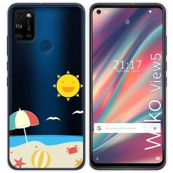 Funda Gel Transparente para Wiko View5 / View5 Plus diseño Playa Dibujos