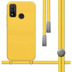 Funda Silicona Líquida con Cordón para Huawei P Smart 2020 color Amarilla