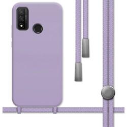 Funda Silicona Líquida con Cordón para Huawei P Smart 2020 color Morada