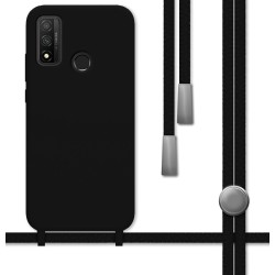 Funda Silicona Líquida con Cordón para Huawei P Smart 2020 color Negra