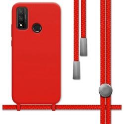 Funda Silicona Líquida con Cordón para Huawei P Smart 2020 color Roja