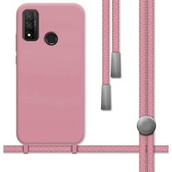 Funda Silicona Líquida con Cordón para Huawei P Smart 2020 color Rosa