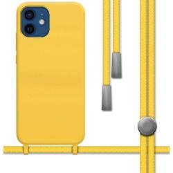 Funda Silicona Líquida con Cordón para Iphone 12 / 12 Pro (6.1) color Amarilla