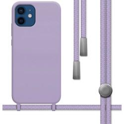 Funda Silicona Líquida con Cordón para Iphone 12 / 12 Pro (6.1) color Morada