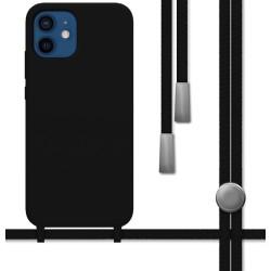 Funda Silicona Líquida con Cordón para Iphone 12 / 12 Pro (6.1) color Negra