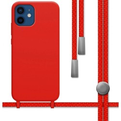Funda Silicona Líquida con Cordón para Iphone 12 / 12 Pro (6.1) color Roja