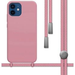 Funda Silicona Líquida con Cordón para Iphone 12 / 12 Pro (6.1) color Rosa
