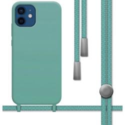 Funda Silicona Líquida con Cordón para Iphone 12 / 12 Pro (6.1) color Verde