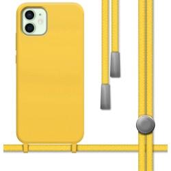 Funda Silicona Líquida con Cordón para Iphone 12 Mini (5.4) color Amarilla