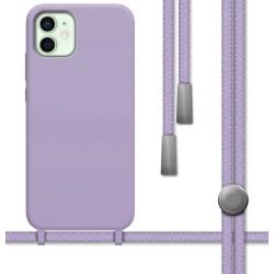 Funda Silicona Líquida con Cordón para Iphone 12 Mini (5.4) color Morada