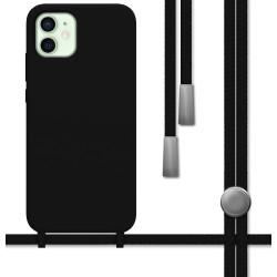 Funda Silicona Líquida con Cordón para Iphone 12 Mini (5.4) color Negra