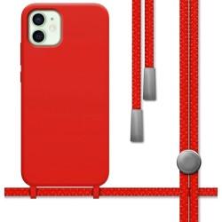 Funda Silicona Líquida con Cordón para Iphone 12 Mini (5.4) color Roja