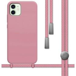 Funda Silicona Líquida con Cordón para Iphone 12 Mini (5.4) color Rosa