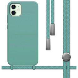 Funda Silicona Líquida con Cordón para Iphone 12 Mini (5.4) color Verde